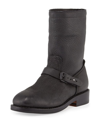 Oliver Pebbled Leather Boot, Black