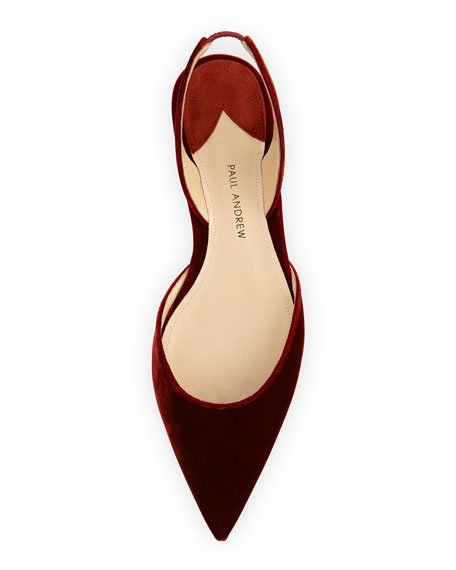 Rhea Velvet Slingback Flat, Burnt Orange