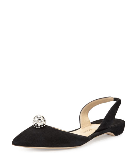 Paul Andrew Rhea Jeweled Suede Halter Flat