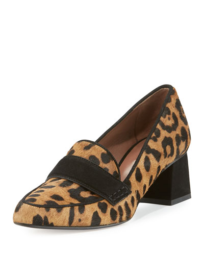 Margot Calf Hair Loafer Pump, Leopard
