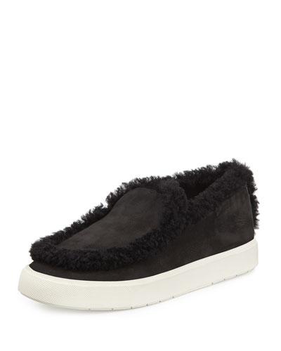 Carlen Shearling-Trimmed Sneaker, Black