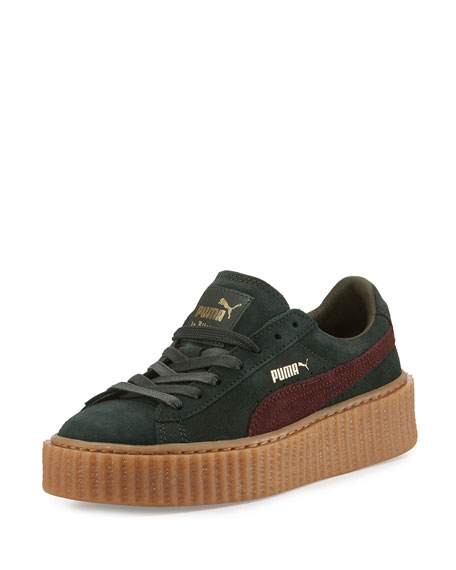 fenty puma by rihanna suede platform creeper green bordeaux. Black Bedroom Furniture Sets. Home Design Ideas