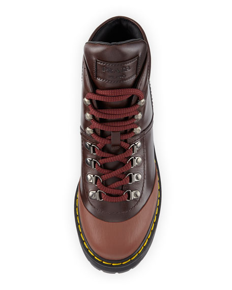 Lace-Up Leather Hiking Boot, Ebano/Cotton
