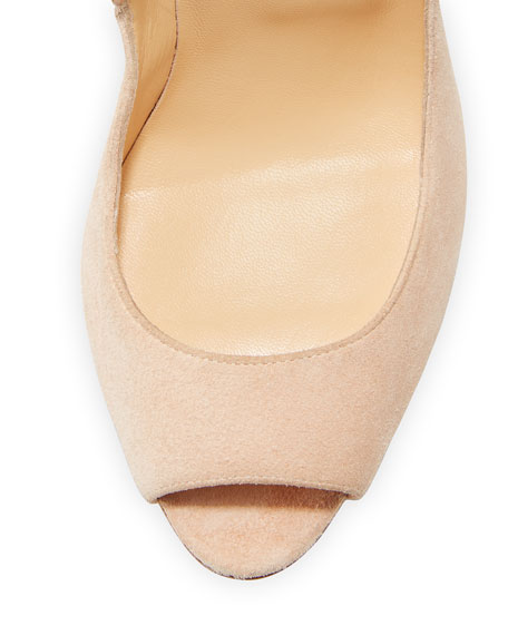 d44b07acc54 Pijonina Scalloped 100mm Red Sole Pump Nude