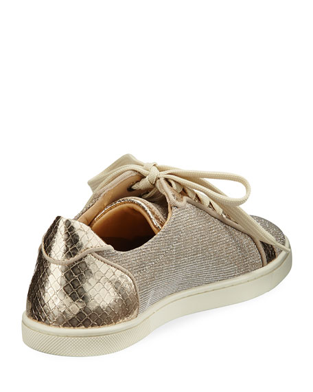 Seava Woven Low-Top Sneaker, Gold