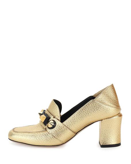 Studded Metallic Mid-Heel Loafer Pump, Gold