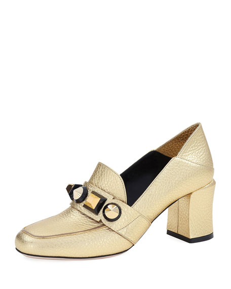 Fendi Studded Metallic Mid-Heel Loafer Pump, Gold