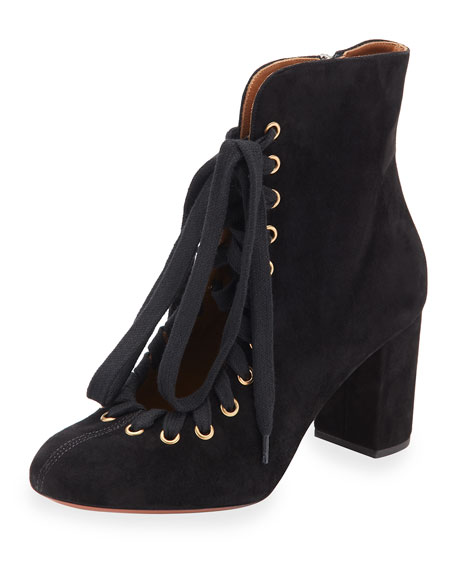 Lace-Up Suede Ankle Boot, Black
