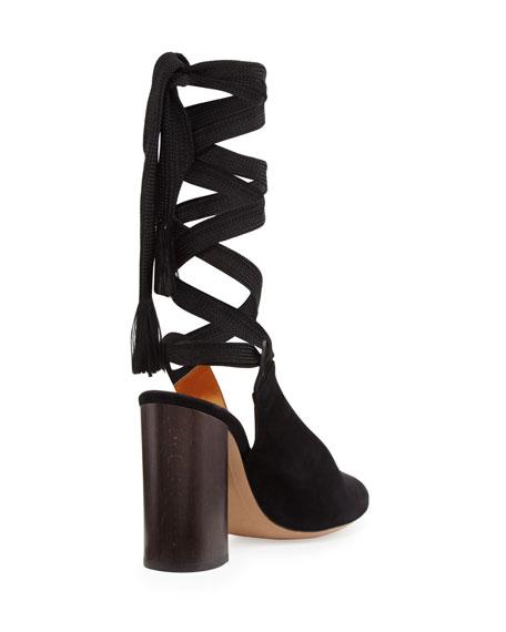 Suede Block-Heel Leg-Wrap Pump, Black