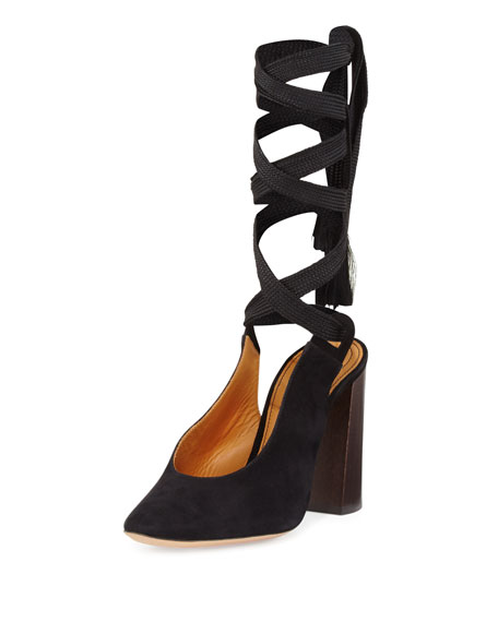 Suede Block-Heel Leg-Wrap Pump, Black