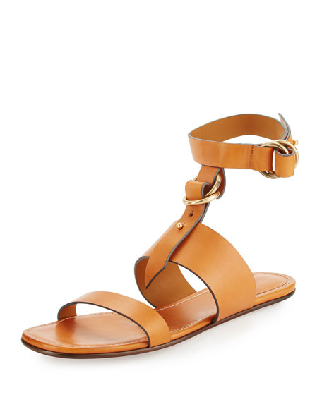 Kingsley T-Strap Flat Sandal, Cognac Brown