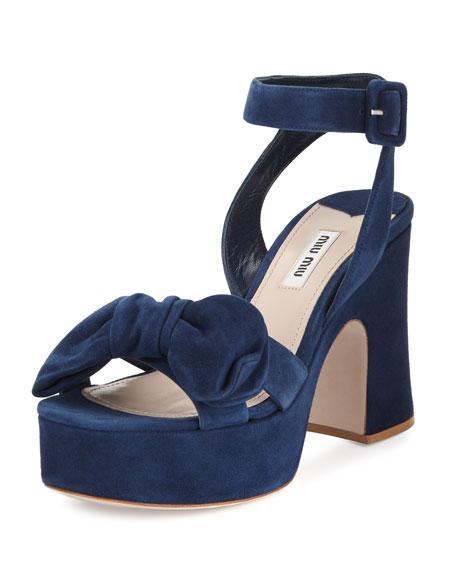 Suede Bow Platform Sandal