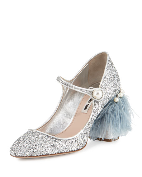 Feather-Embellished Glitter Mary Jane Pump, Silver (Argento)
