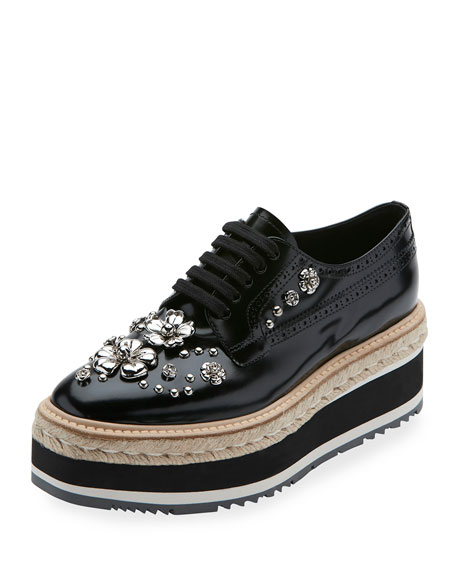 Prada Embellished Patent Leather Microsole Espadrille, Black