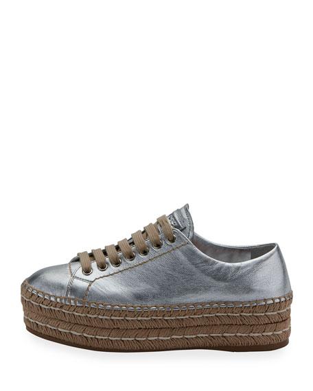 Leather Platform Espadrille Sneaker, Argento