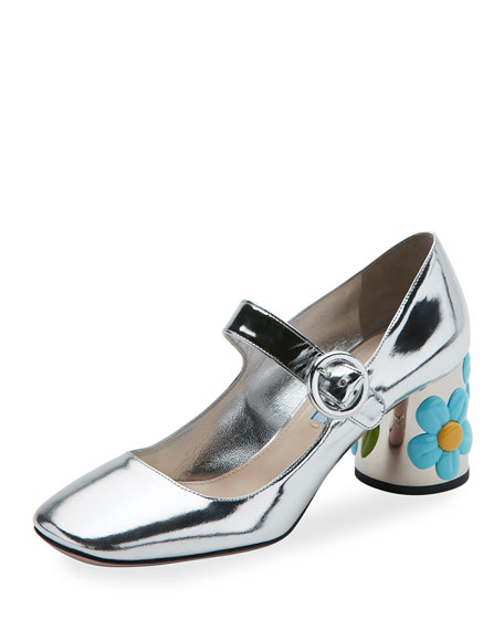 Metallic Mary Jane Flower-Heel Pump, Argento