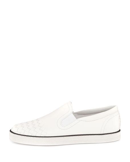 Intrecciato-Toe Slip-On Sneaker, Bianco