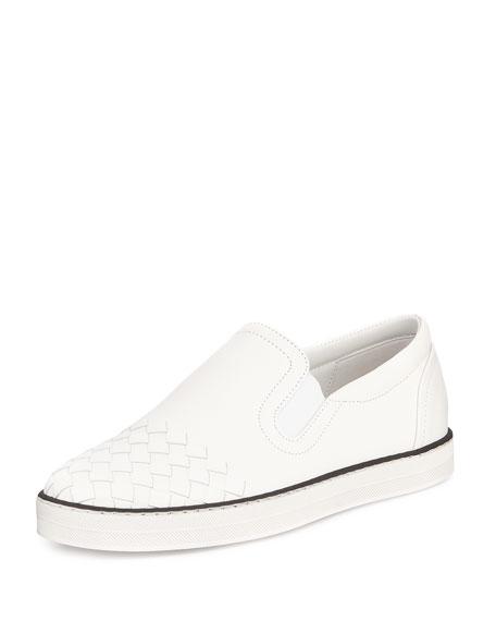 Bottega Veneta Intrecciato-Toe Slip-On Sneaker, Bianco