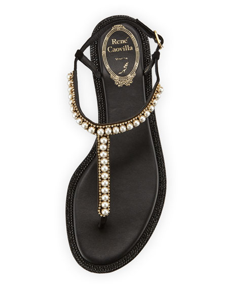Pearly T-Strap Flat Sandal, Black