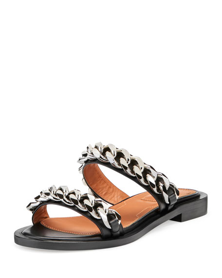 Chain-Embellished Leather Slide Sandals - Black Size 7.5