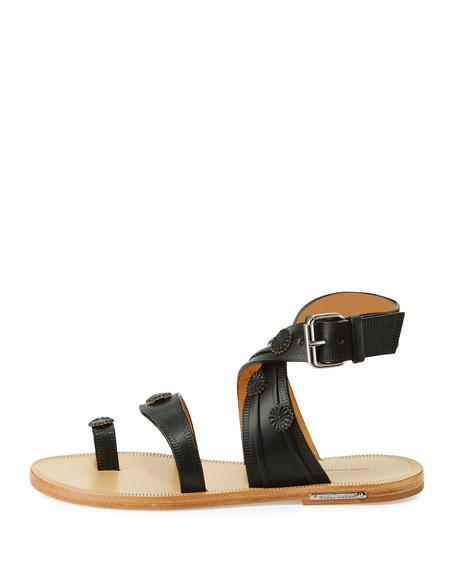 Jord Leather Toe-Ring Flat Sandal, Black