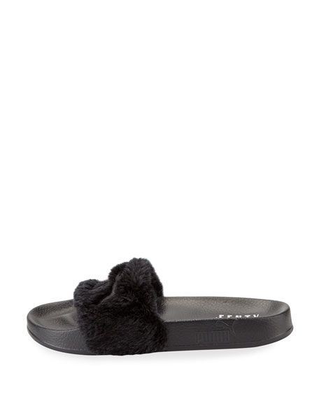 Leadcat Fenty Faux-Fur Slide Sandal, Black/Silver