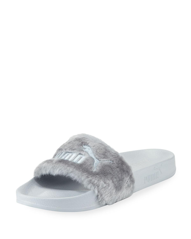 order new photos uk store Fenty Puma by Rihanna Leadcat Fenty Faux-Fur Slide Sandal, Quarry/Silver