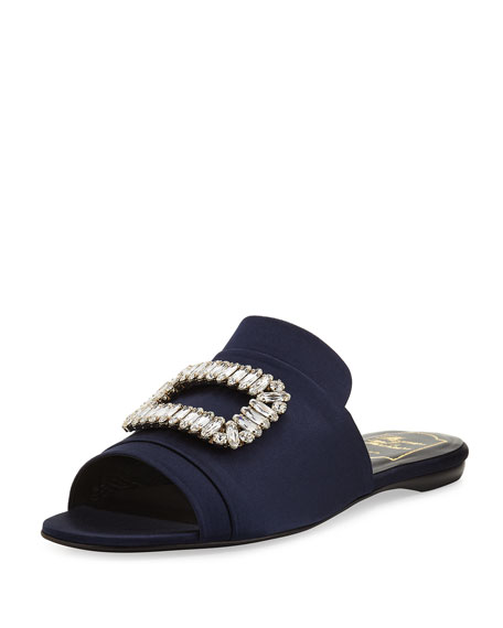 Strass Buckle Satin Slide, Navy