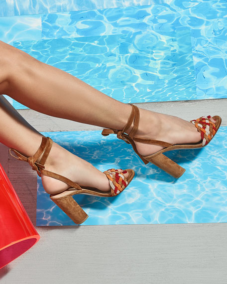 Woven Suede Ankle-Wrap Sandal, Almond Spritz