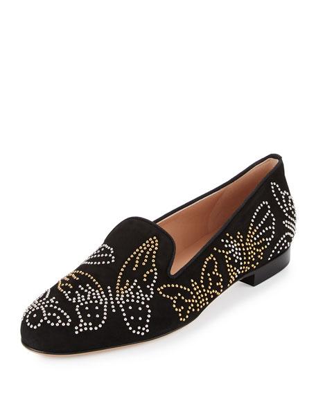 Butterfly-Studded Smoking Slipper, Black (Nero)