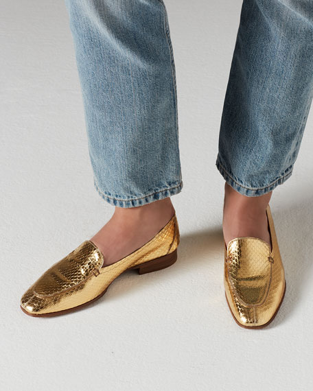 Adam Metallic Snakeskin Loafer, Gold
