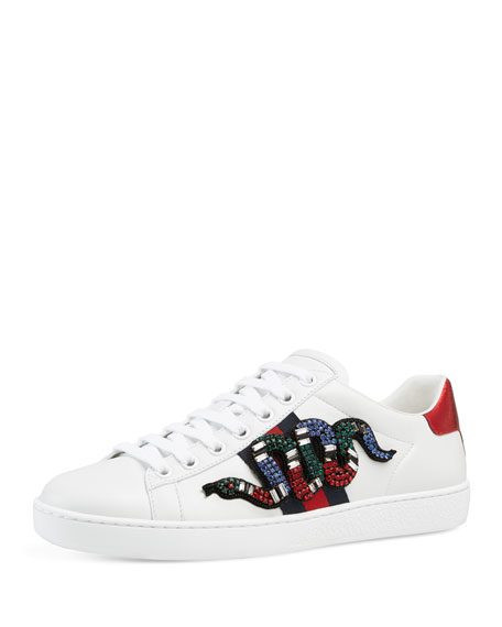 Gucci Ace Snake Low-Top Sneaker, White