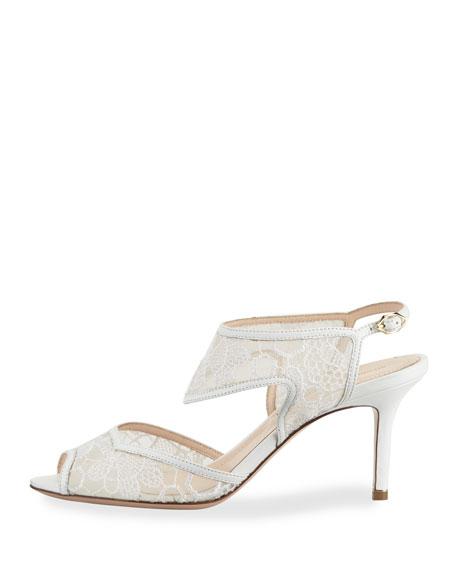 Leda Lace 105mm Sandal, White