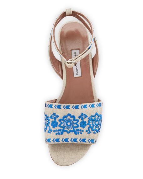 Petal Festival Embroidered Flat Sandal, Natural