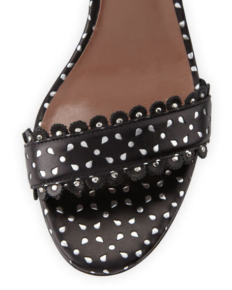 Leticia Perforated Leather Sandal, Black
