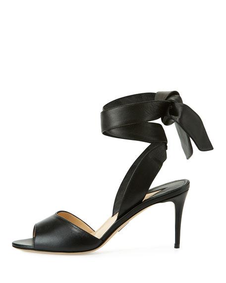 Lulea Leather Ankle-Wrap Sandal, Black