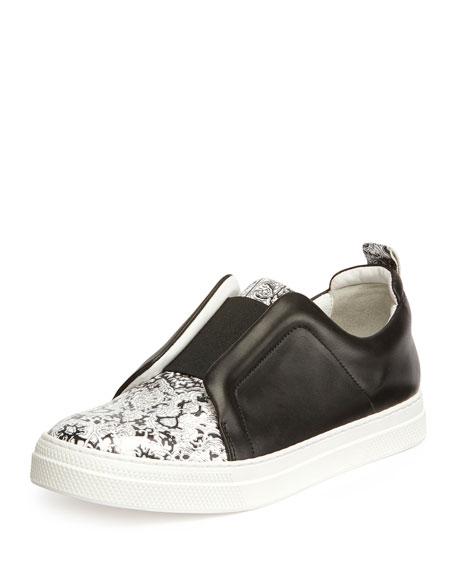 Slider Printed Leather Sneaker, Black/White