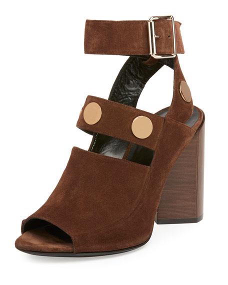 Pierre Hardy Penny Suede Block-Heel Sandal, Brown