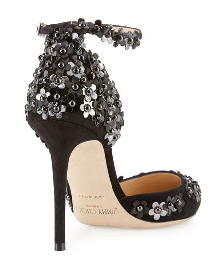 Lucy Embellished Half-d'Orsay Pump, Black