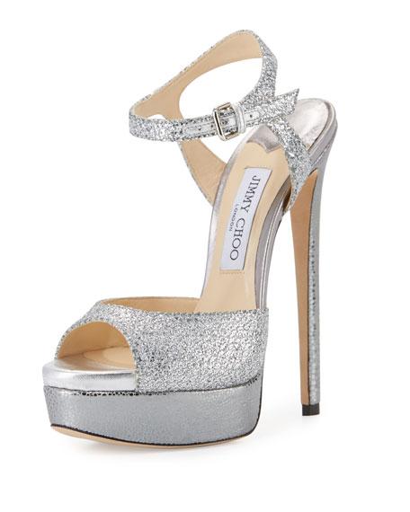 Jenna Glitter Platform Sandal, Silver