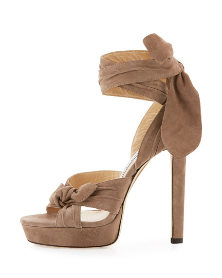 Vixen Suede Ankle-Wrap Sandal, Light Mocha
