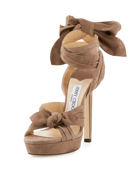 Jimmy Choo Vixen Suede Ankle-Wrap Sandal, Light Mocha