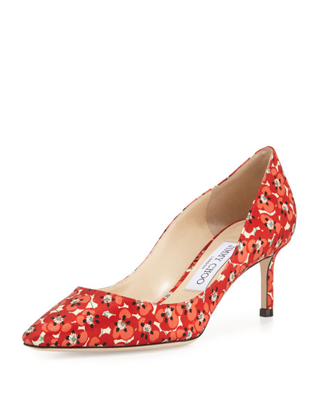 Romy Floral-Print 60mm Pump, Red Pattern