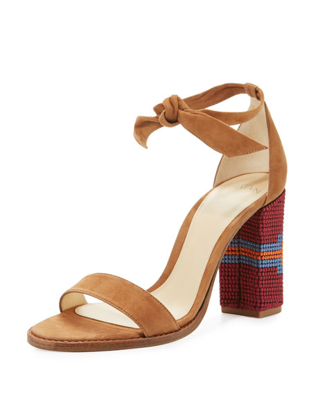 Elisa Embroidered Block-Heel Sandal, Beige