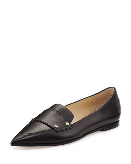Jimmy Choo Gia Leather Point-Toe Loafer, Black