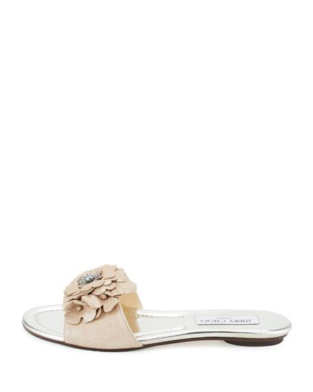 Neave Floral Suede Slide Sandal, Nude