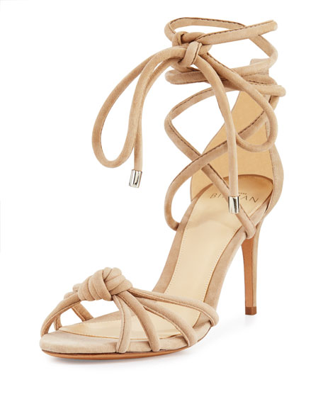 Alexandre Birman Lanna Knotted Suede 75mm Sandal