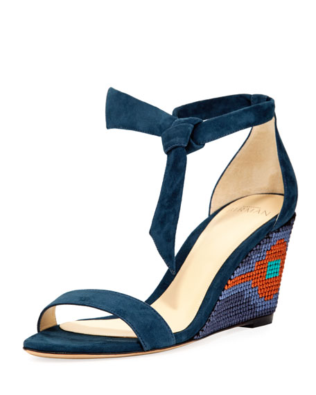 Carmen Embroidered Wedge Sandal, Deep Sky