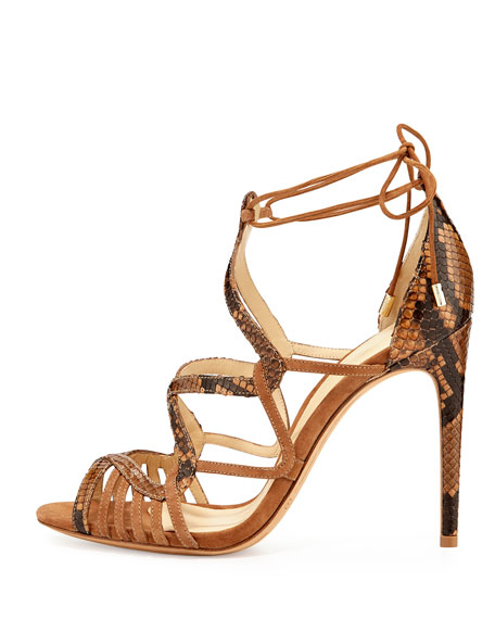 Marina Suede & Python Lace-Up Sandal, Tan