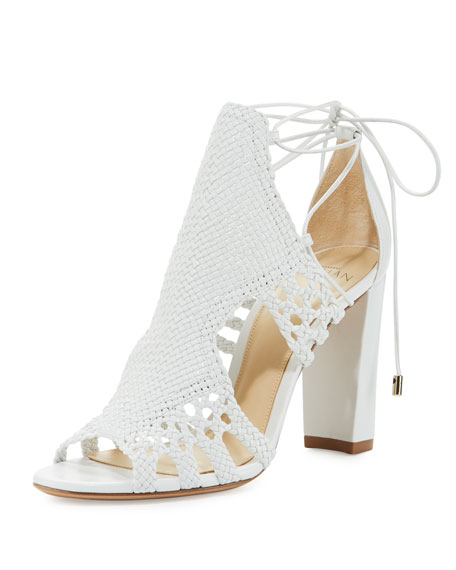 Doria Woven Leather Block-Heel Sandal, White